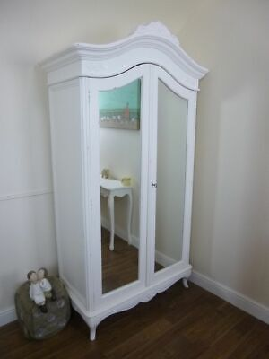 Double French Charroux Armoire In White - Handmade Double Wardrobe