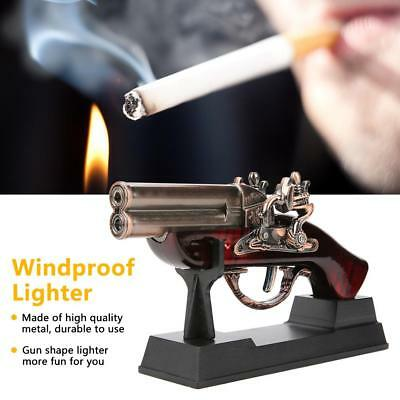 Durable Windproof Metal Wood Flame Gas Butane Lighter Gift Craft Decoration