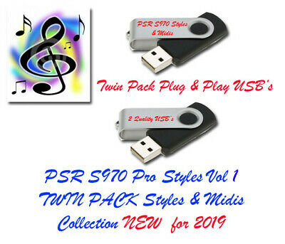 YAMAHA PSR S970 Pro Midis with Styles  New for 2019  Vol 1 and 2 Twin Pack  USB