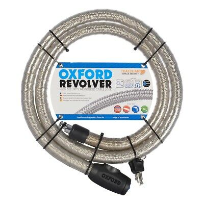 Oxford Revolver 1.8M Motorcycle Motorbike Armoured Cable Lock Silver OF232