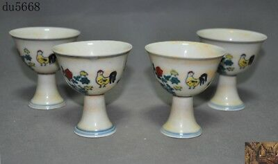 Marked China Wucai porcelain Zodiac animal chicken cock statue wineglass cup set