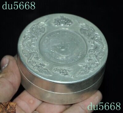 Chinese dynasty Tibetan silver double Dragon Loong coin small Storage Box Boxes