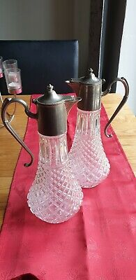 Vintage Silver-Plated claret decanter - mark  EP Zinc wine party dine table