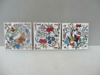 Ceramic Decorative Tile Tiles Nature Flowers Birds Butterflies  Vintage / Retro