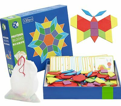 Wooden Pattern Blocks | Classic Educational Toy with 130 Geometric Shape Piec...