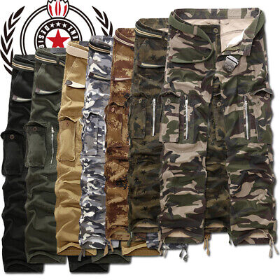 Mens Military Combat Trousers Camouflage Cargo Camo Army Casual Work Pants