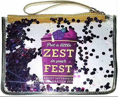 Epcot Flower And Garden 2019 Violet Lemonade Zip Pouch Wristlet Cosmetic Bag
