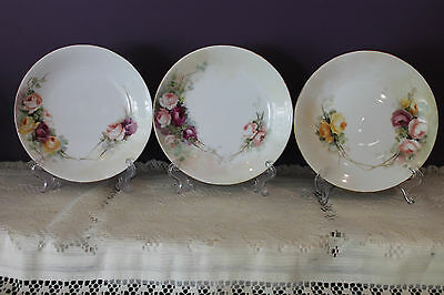 "Vintage Set Of 3 Limoges W G & Co Wm Guerin France 6-5/8"" Plates With Roses"