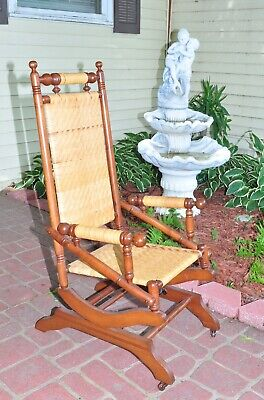 Antique Spring Loaded Rocking Chair Stick & Ball Excellent Condition