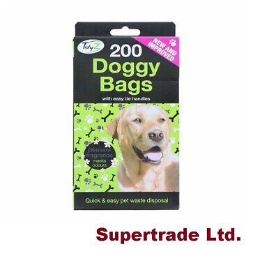 Tidyz Doggy Poo Bags Scented Dog Puppy Waste Poop Disposal Easy Tie Handle - 200