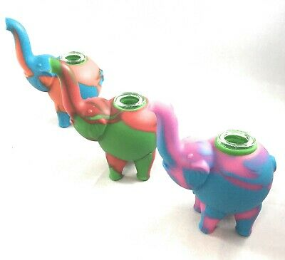 "4"" ELEPHANT SILICONE TOBACCO Herb Smoking Hand Pipe With Glass Bowl US Seller"