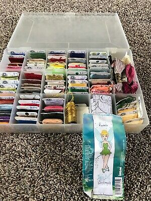 Lot DMC Embroidery Floss 3-6 Thread Organizer Case Tinkerbell Pattern +Extras