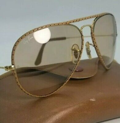 B&L Ray Ban Leathers Ostrich Gold Photochromatic lenses 58¤14 Aviator sunglasses
