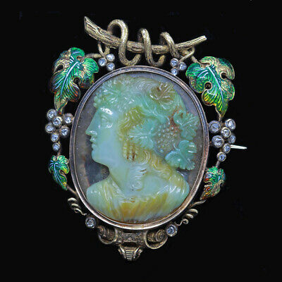 Antique Victorian Cameo Brooch Pendant 18k Gold Diamonds Enamel Moss Agate(6721)