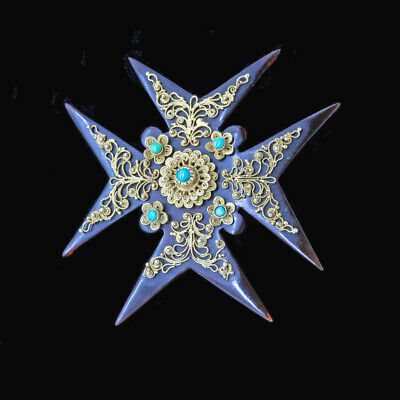 Antique Georgian Brooch Maltese Cross Cannetille Gold Turquoise English (6736)