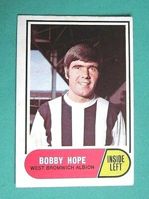 A&Bc 1969/70 Football Card # 21.  Bobby Hope - West Bromwich Albion. Green Backs