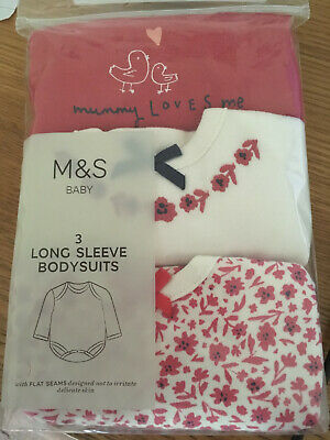 BNIP 3 Pack M&S Girls Red White Floral Long Sleeved Bodysuits Vests 9-12 Months