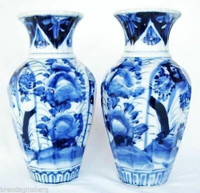 Antique Japanese Vases Pair Blue and White Botanic handpainted 19C Ceramic(4636)