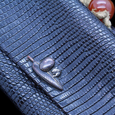 Antique Japanese Shakudo Tobacco Pouch Pipe Case Mixed Metal Silver Clasp (5516