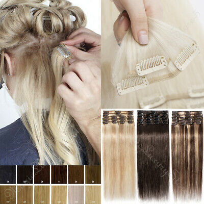 Balayage Clip In 100% Remy Real Human Hair Extensions Full Head 8-26Inch 8Pieces