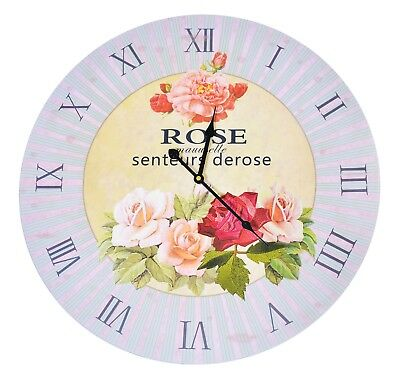 Extra Large 58cm Wooden Floral Rose Wall Clock Home Decor Bedroom Shabby Chic 55
