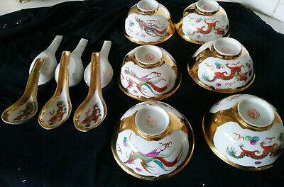 Antique Set Of 6 Xchinese Porcelain Guilded Bowls/Spoons Decorated With Phoenix