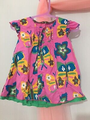 Cute Baby Girls M&S Autograph Pink Floral Butterfly Print Summer Top 12-18m🌺