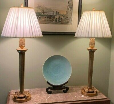 Vintage Pair Neoclassical Brass Column Lamps Hollywood Regency Styling