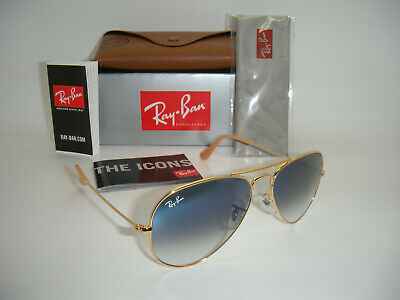 New Authentic Ray-Ban Aviator Gold Frame Blue Gradient RB3025 001/3F 58MM Medium