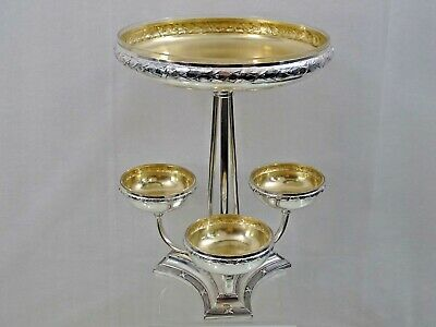 VERY FINE ANTIQUE EPERGNE CAKE STAND EUROPEAN GERMANY SILVER PLATED not sterling