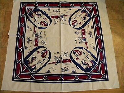 vintage Mexican patterned tablecloth 48x52 NEW old stock, crisp and perfect