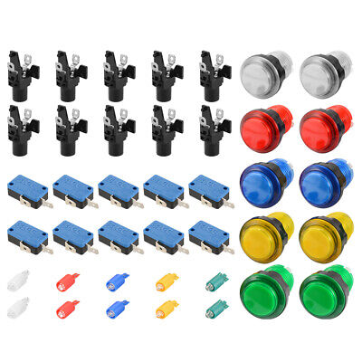 10pcs 12V 25A  Illuminated Arcade Push Buttons Kit w/ Microswitch for MAME AC893