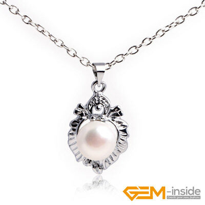 NaturaF reshwater Pearl Beads White Gold Plated Peltate Jewerly Pendant Necklace
