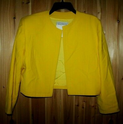 Vtg GIVENCHY Nouvelle Boutique women 42/ 12 Yellow Wool Blazer Jacket France
