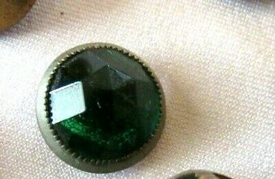 """Antique Green Faceted Glass Dome Waistcoat Button Silver Metal Rim- 1/2"""""""
