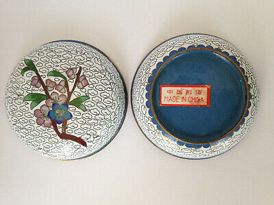 Vintage Antique Asian Chinese Cloisonne Enamel Round Trinket Box Made in China