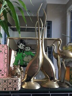 Pair Large Vintage Brass Swans Geese Bird Ornament Mid Century Retro