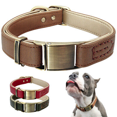 Heavy Duty Luxury Genuine Leather Dog Collars with Brass Buckle Pitbull Boxer