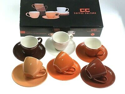 Set Of 12 Pieces Espresso Coffee Cups & Saucers Shades Of Orange 90ML