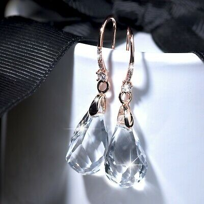 18k rose gold gf made with SWAROVSKI crystal drop dangle hook earrings sparkling