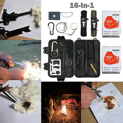 16 in 1 Emergency Survival Equipment Kit Outdoor Hiking Camping Tactical Tool