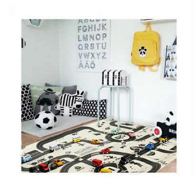 Kids Car Road Carpet City Road Mat Childrens Rug Toy Playmat Waterproof AU T1I0C