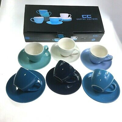 Set Of 12 Pieces Espresso Coffee Cups & Saucers Shades Of Blue 90ML