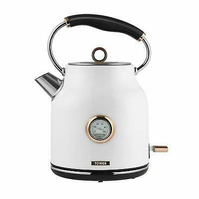 Tower Bottega T10020W 3kW1.7L Rapid Boil Kettle, White and Rose Gold