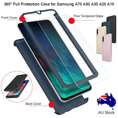 Samsung Galaxy A50 A30 A70 A20 A10 360 Shockproof Full Cover Case+Tempered Glass