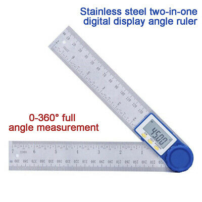 2in1 Digital Angle Finder Ruler Protractor Stainless Steel 360° Measure Tool New