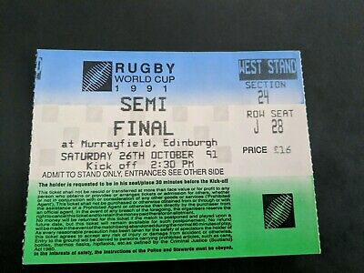 RUGBY FOOTBALL UNION match TICKET 1991 WORLD CUP SEMI SCOTLAND ENGLAND