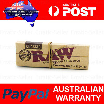 RAW Classic Connoisseur 1 1/4 Papers + Tips - Smoking Tobacco Rolling Natural