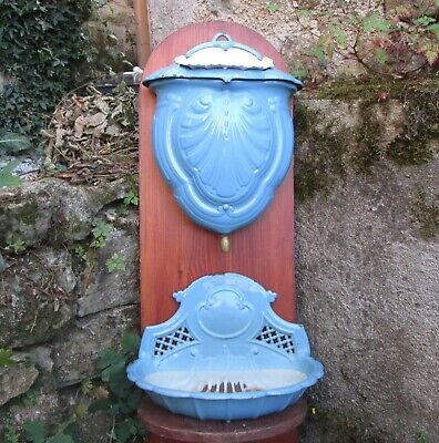 Antique 19thC French RARE ENAMELED CAST IRON LAVABO Water Tank Basin Fountain