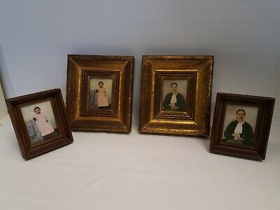 Set of 4 Antique 19th Century Miniature Portrait Paintings Mother & Daughter
